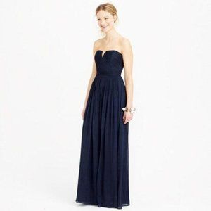 J. Crew   Nadia Silk Chiffon Royal Blue Maxi Dress